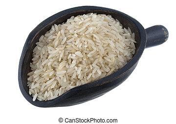 scoop of Jasmine white rice - aromatic, long grain, Jasmine...