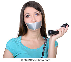 Talking - It is better to be silent. Upset girl with...