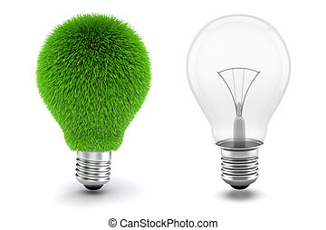 3d image of light bulb, sustainable energy concept