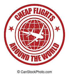 Cheap flight around the world stamp