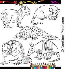 animais, jogo, caricatura, coloração, livro