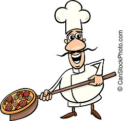 italian cook with pizza cartoon illustration - Cartoon...