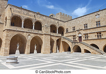 Castle of Rhodes island in Greece. - Palace of the Grand...