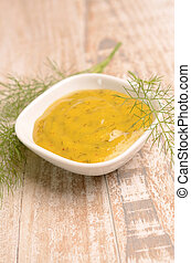 Dill Sauce - Dill sauce in a white bowl