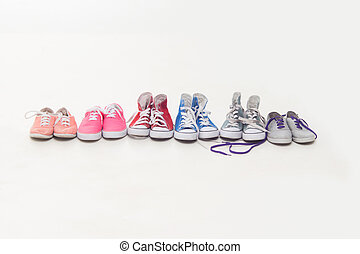 Lace up shoes - Collection of sneakers isolated on white....