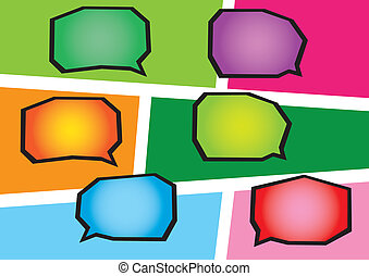 Colorful Speech bubbles - Layout of different colorful...