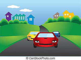 cars racing - Vector illustration of cars racing on the road
