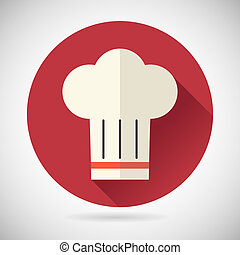 Chief Cook Symbol Toque Cuisine Food Icon on Stylish...