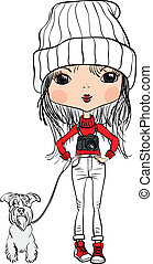 Vector hipster cute girl with a dog and a camera - Cute...