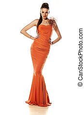 evening dress - attractive girl posing in long evening dress