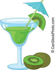 Glass with a green drink and kiwifruit - Blue transparent...