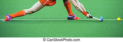 Field hockey banner - Female athlete field hockey player...