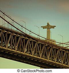 Lisbon Bridge with Jesus Christ Statue - 25th of April Bride...