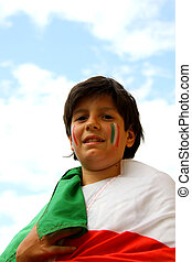 boy with painted flag before the football match - italian...
