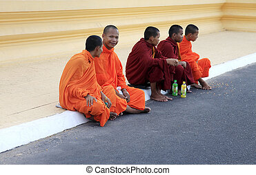 Cambodia monks - PHNOM PENH, CAMBODIA - APRIL 24: Cambodia...