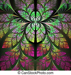 Fabulous fractal pattern in purple, yellow and green....