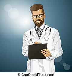 vector, hipster, doctor, hombre, con, Portapapeles