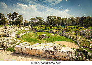 Roman amphitheatre of Syracuse - the ancient Roman...