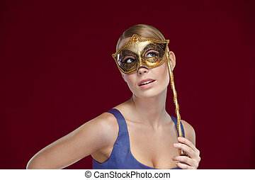 Woman with masquerade masque - Pretty woman with masquerade...