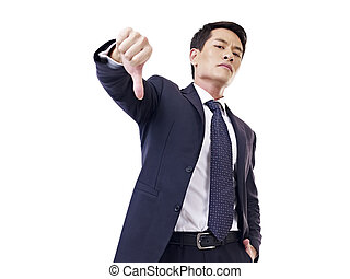 asian businessman - businessman showing thumb-down sign,...