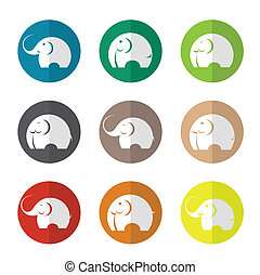 Vector group of elephant in the circle
