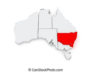 Map of New South Wales. Australia.