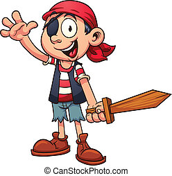 Cartoon pirate - Happy pirate boy Vector clip art...