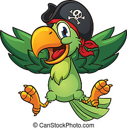Happy pirate parrot. Vector clip art illustration with...