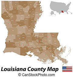 Louisiana County Map - A large and detailed map of the State...