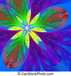 Multicolor beautiful fractal flower in green, purple and...