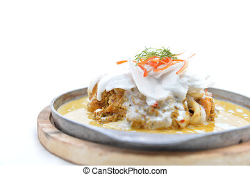 Steamed seafood and coconut with curry paste Thai Food