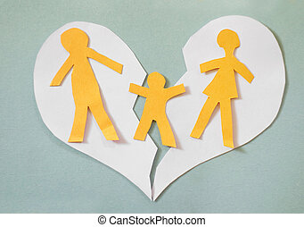Family conflict - Paper cutout family split apart on a paper...