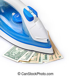 ironing the paper currency on a white backrground