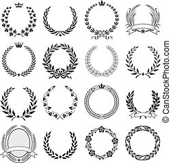 Laurel Wreath round Ceremonial Frames. - A set of Nine High...