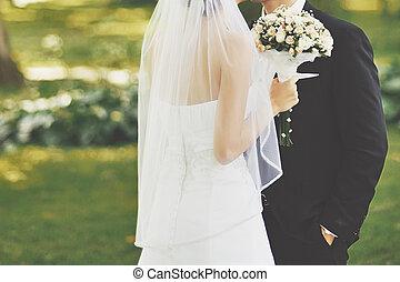 bröllop, par, ung