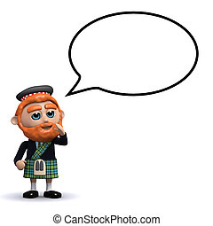 3d Scotsman speech bubble - 3d render of a Scotsman with a...