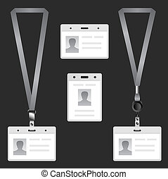 Lanyard, name tag holder end badge, templates, vector