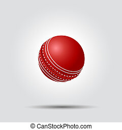 Cricket ball on white background with shadow, vector