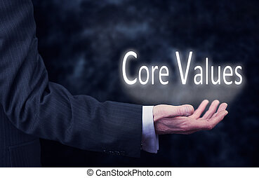 Core Values - A businessmans hand holding the words, Core...