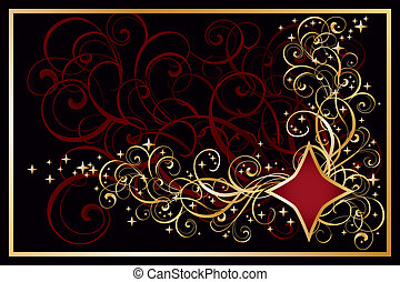 Casino diamond golden card, vector illustration