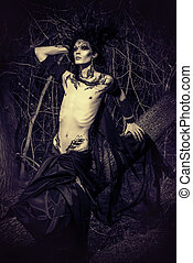dark fear - Man-tree in a wild wood. Art project. Fantasy....