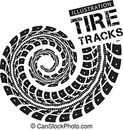 Tire tracks. Vector illustration on white background