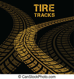 Tire tracks Vector illustration on black background