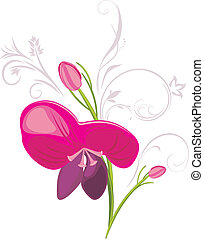 Stylized flower with decorative elements. Vector...