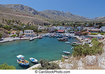 Kalymnos island in Greece - Vathi bay at Kalymnos island in...