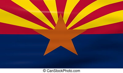 Waving Arizona State Flag, ready for seamless loop