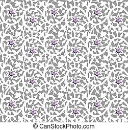 White seamless floral pattern with lace and pearls