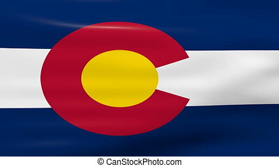 Waving Colorado State Flag, ready for seamless loop