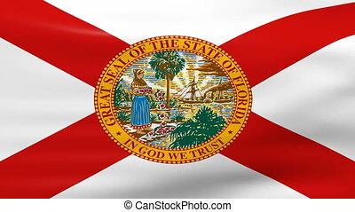 Waving Florida State Flag, ready for seamless loop.