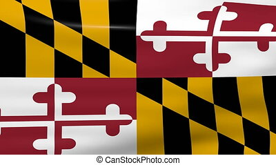 Waving Maryland State Flag, ready for seamless loop.